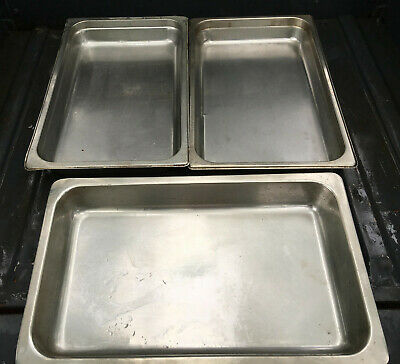Lot Of 3 Stainless Steel Full Size 2.5 Deep Steam Table Pans