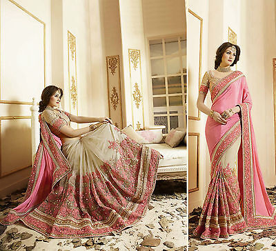 Indian Party Wear Beige Pink Saree Sari Designer Bridal Pakistani Wedding Saree
