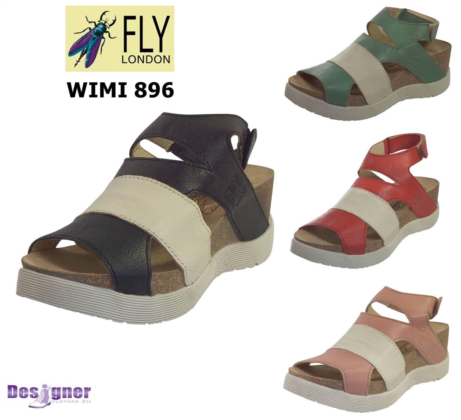 Fly London Ladies HOOK890FLY Luxury Rug Leather Slip On Wedge Platform Mules