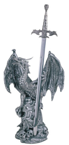 18 INCH SILVER DRAGON WITH SWORD AND SKULLS FIGURINE