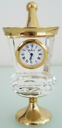 Badash Poland Crystal Desk Clock Paperweight Champagne Ice Bucket Gold Accents