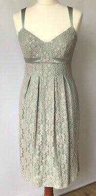 Warehouse Lace Shift Dress Green Antique Look Ribbon Straps Xmas Party NYE UK (Warehouse Nye)