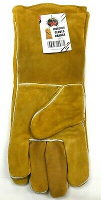 16 Yellow Welding Gloves Split Leather Cowhide Protect Welder Hands
