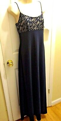 NWT De Laru By Sheila Yen for Dillards Navy Blue Silver Long Column Dress Formal Dillards Special Occasion Dresses