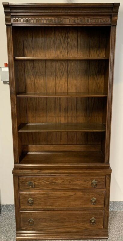 Ethan Allen Royal Charter 2 Piece Bookcase Bookshelf Storage Wall Unit Cabinet
