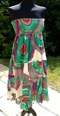 Vintage 90s Bandeau Sundress Free Size/16 Indian Cotton Batique Hippy Boho