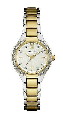 Bulova Women's Quartz Diamond Accent Two Tone Bracelet 28mm Watch 98R221