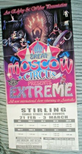 1 X POSTER THE GREAT MOSCOW CIRCUS 60 X 29 CM EDGLEY ATTRACTIONS AUSTRALIA