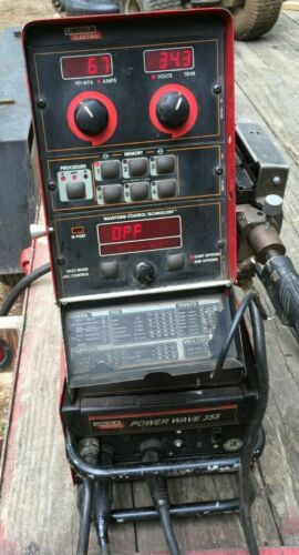 Lincoln Power Wave 355 with wire feed & cables