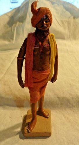 Vintage Indian Clay Figure Terracotta Krishnanagar Real Hair Tilak Spiritual Man