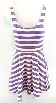 SUPERDRY Womens Dress XS Purple White Stripes Cotton Strappy Sleeveless