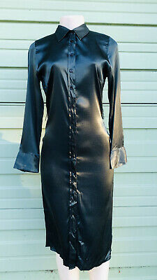 NWD ZARA BOTTLE Green SHIRT DRESS Collar A-line MIDI Long Sleeve Size M  2144