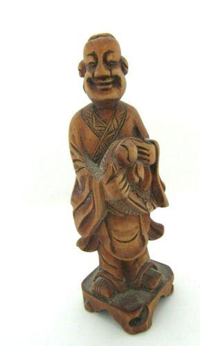 "Vintage Chinese Carved Boxwood Man Holding Basket Statue- 4 3/4"""