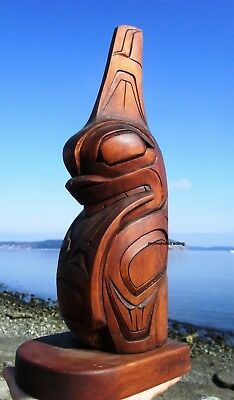 Northwest Coast First Nations native wood Art carved HAIDA WHALE Sculpture, 3D for sale  Canada