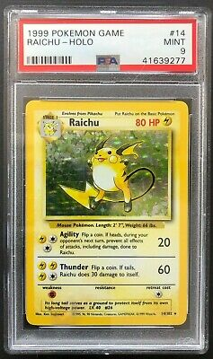 1999 Pokemon Game Raichu Holo PSA 9 Mint Base Set Unlimited Rare 14 Card 14/102