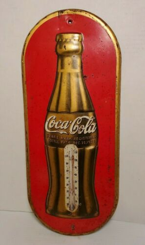 VINTAGE COCA COLA THERMOMETER CHRISTMAS 1923 COLLECTIBLE ADVERTISING