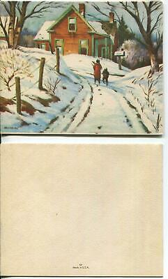 VINTAGE CHRISTMAS COUNTRY RUSTIC CHARM HOUSE TREES SNOW VISITORS GREETING CARD