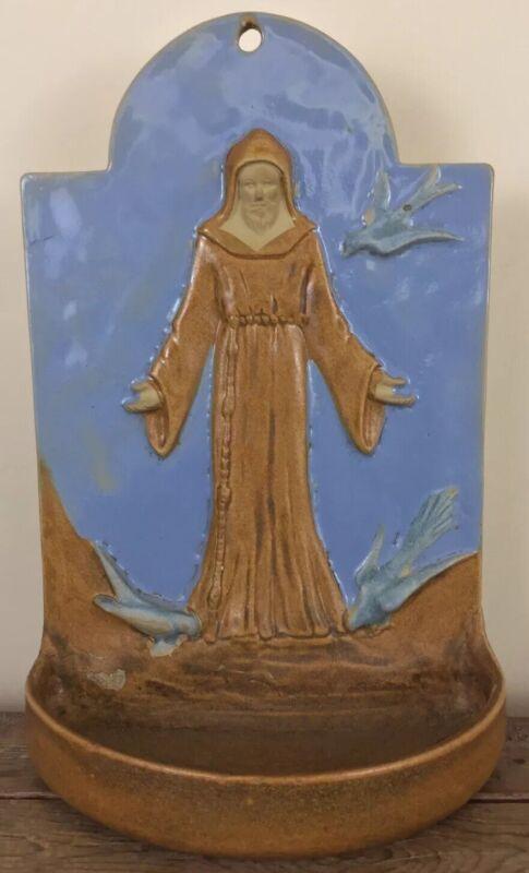 "Antique Maine Church Holy Water Font Jesus St. Francis Feeding Birds Ceramic 15"""
