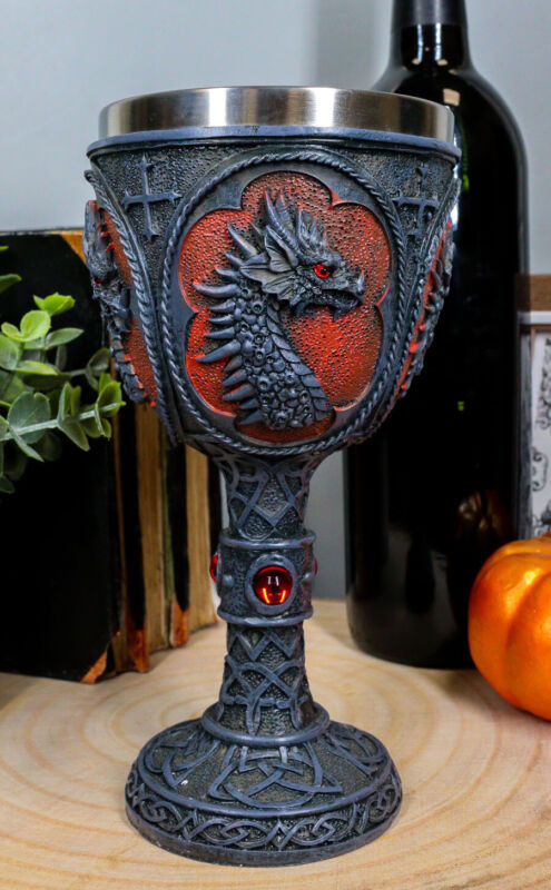 Ebros Celtic Knotwork Tattoo Dragon Wine Drink Chalice Figurine 8oz W/ Red Gems