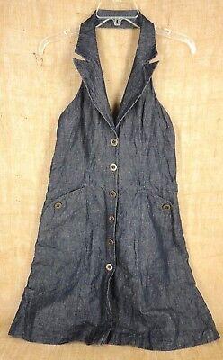 Next Women Halter Dress Size 14 Denim Blue Cotton Linen Polyester Cotton Denim Halter Dress