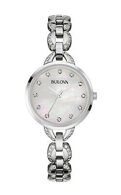 Bulova Facets Women's Quartz Mother of Pearl Dial Silver Tone 28mm Watch 96L203