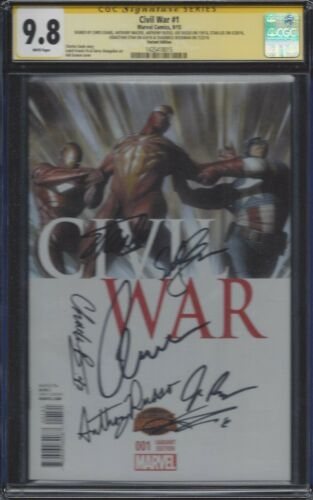 Civil War #1_CGC 9.8 SS_Signed cast/directors Captain America: Civil War Boseman