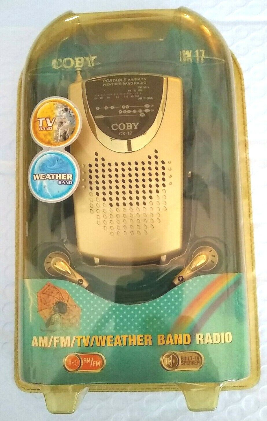 New Coby CX-17 Portable AM/FM TV & Weather Band RADIO Antenn
