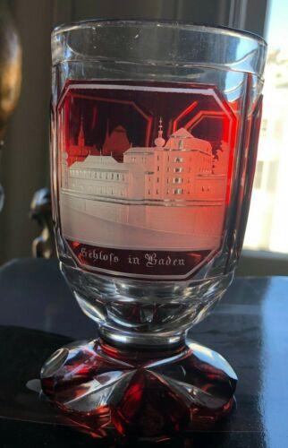 Bohemian Egermann Spa Ruby Glass Baden Baden Engraved Scenes