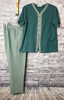 ALFRED DUNNER Women's Green Short Sleeve Pant Suit Top Size: L Pants Size: 14P