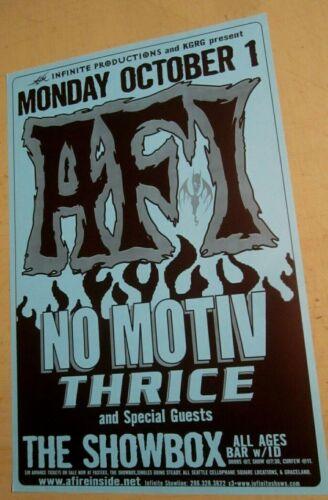 AFI 2001 Seattle Concert Original Poster w/ No Motiv and Thrice