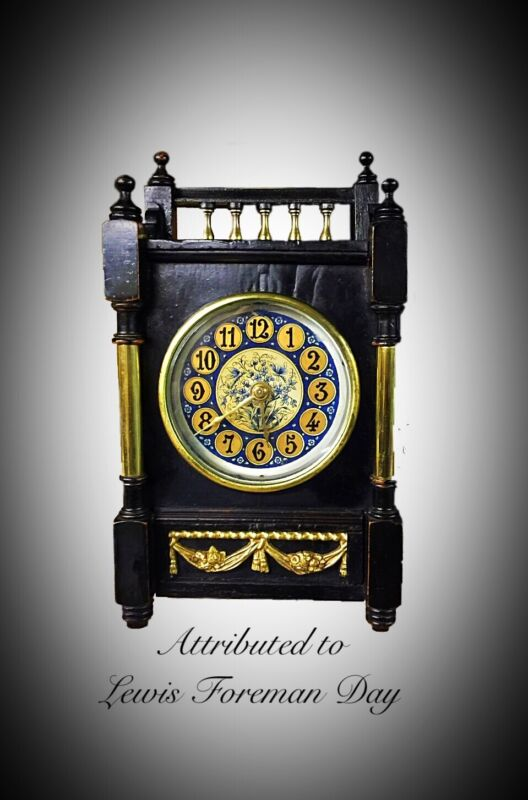 Aesthetic Movement Ebonised Mantle Clock attributed to Lewis Foreman Day