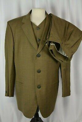 Gianni Versace Men's 3 Piece Suit Size 56 Brown Career Wool 46 US Switzerland