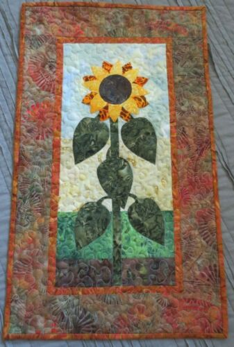 """Hand Made Quilted Wall Hanging ~Sunflower~Applique~Batik~ 13 1/4"""" x 22 1/4"""""""