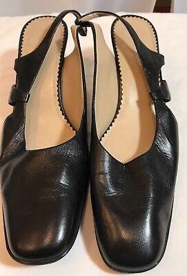 NATURALIZER Women's Black Leather Block Heel  Slingbacks Pumps ~ 8.5M Block Heel Slingback Pump