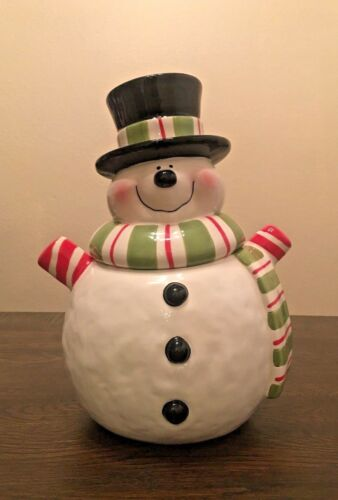 Vintage Smiling Snowman W/Hat and Scarf Cookie Jar