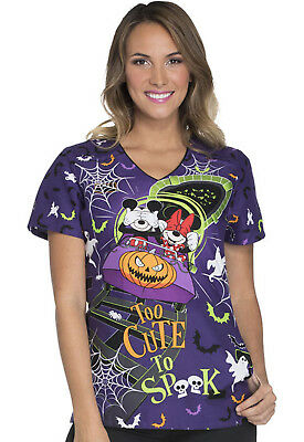 Mickey Mouse Cherokee Scrubs Halloween Tooniforms Disney V Neck Top TF629 MKTC - Tf Halloween