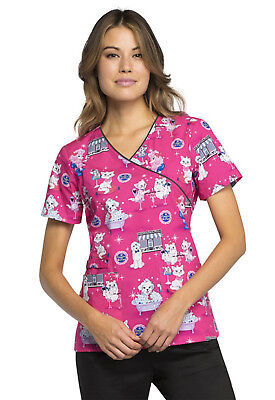 Beauty Paw-lor Cherokee Scrubs Genuine Mock Wrap Top CK614 BTPL - Beautiful Cherokee Woman
