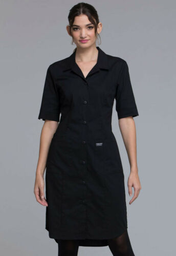 Black Cherokee Scrubs Workwear Professionals Button Front Dress WW500 BLK