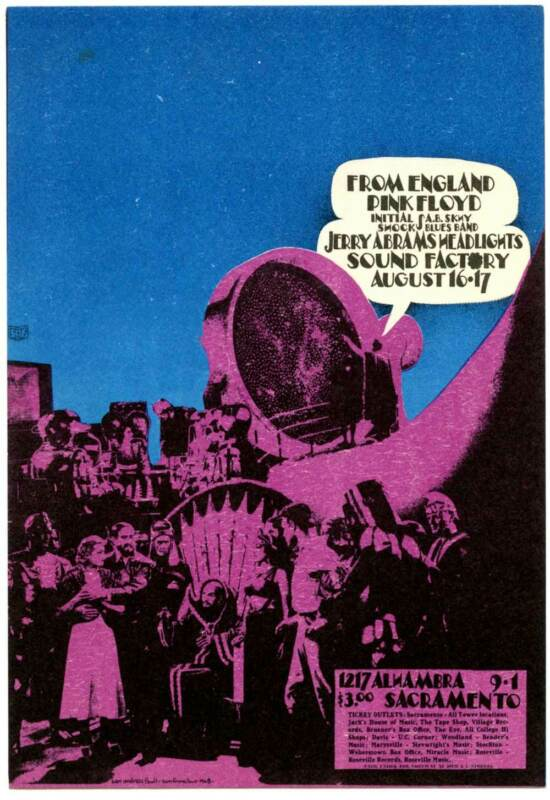 Pink Floyd Original Poster Handbill Sound Factory Sacramento 1968 AoR 3.19 MINT