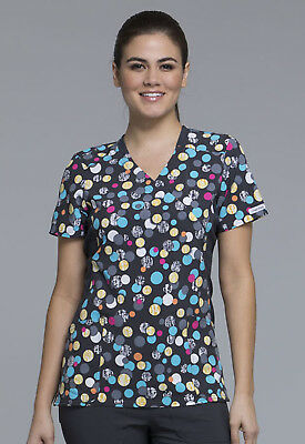 Dot Scrubs (Polka Dot Game Cherokee Scrubs Flexibles V Neck Knit Panel Top CK681 PDGM)