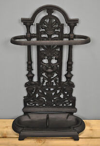 Cast Iron Ornate Umbrella Brolly and Walking Stick Stand in Black