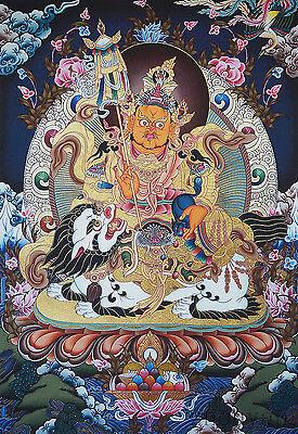 26  Natural Mineral Color Silkprint Tibetan Thangka  Vaishravane  King Of Wealth