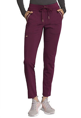 Wine Cherokee Scrubs Statement Mid Rise Straight Leg Drawstring Pant CK055 WIN