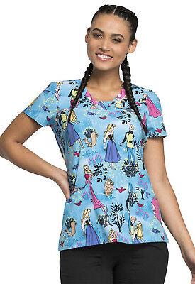 Sleeping Beauty Cherokee Scrubs Tooniforms Disney V Neck Top TF641 PRSB