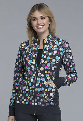 Dot Scrubs (Polka Dot Game Cherokee Scrubs Zip Front Knit Panel Jacket CK308 PDGM)