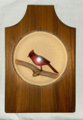 W.J. REINBOLD HANDCARVED HANDPAINTED CARDINAL WITHIN WALNUT WOOD AND GLASS DOME