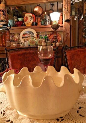 RARE 18th c. LEEDS Pottery CREAMWARE MONTEITH Bowl SHELL EDGE & HANDLES