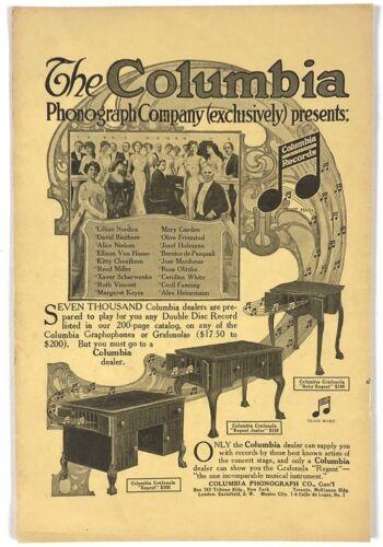 1912 Columbia Records Phonograph Grafonola Regent Music Advertising Print Ad