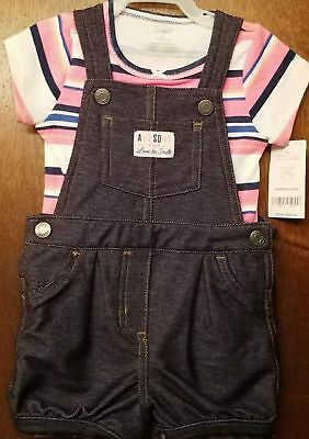 Baby Girls 2 pc Set Striped T-Shirt Blue Overalls Shorts Size 9 Mo Carter's NEW