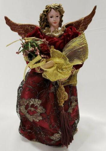 "11"" Angel Christmas Tree Topper Plastic Head Hands Gold Burgundy Wings Dress"